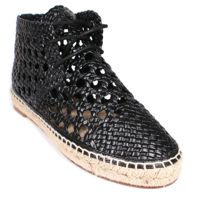 Item - Black New: Woven Espadrille Sneaker Boot Leather Lace Up Eyelet Flats Size EU 37 (Approx. US 7) Regular (M, B)