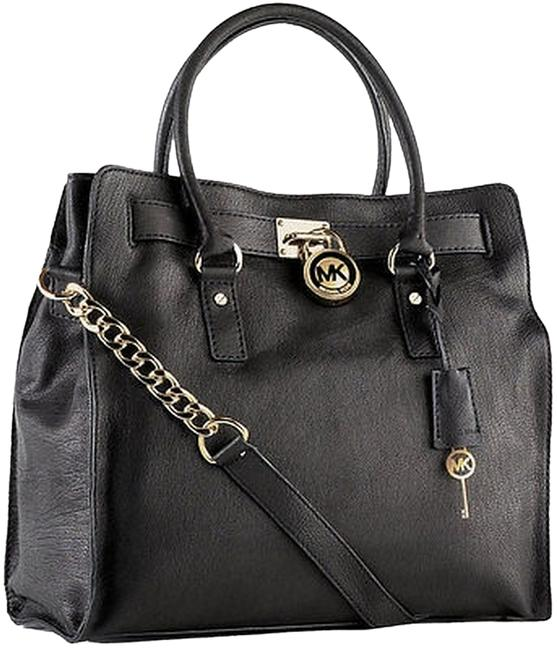 Item - Hamilton Large Ns (New with Tags) Lock and Key Black/Silver Hardware Leather Tote