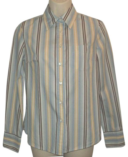 Item - Blue Brown Cream Buttoned Long Sleeves Stripes Tan Button-down Top Size 2 (XS)