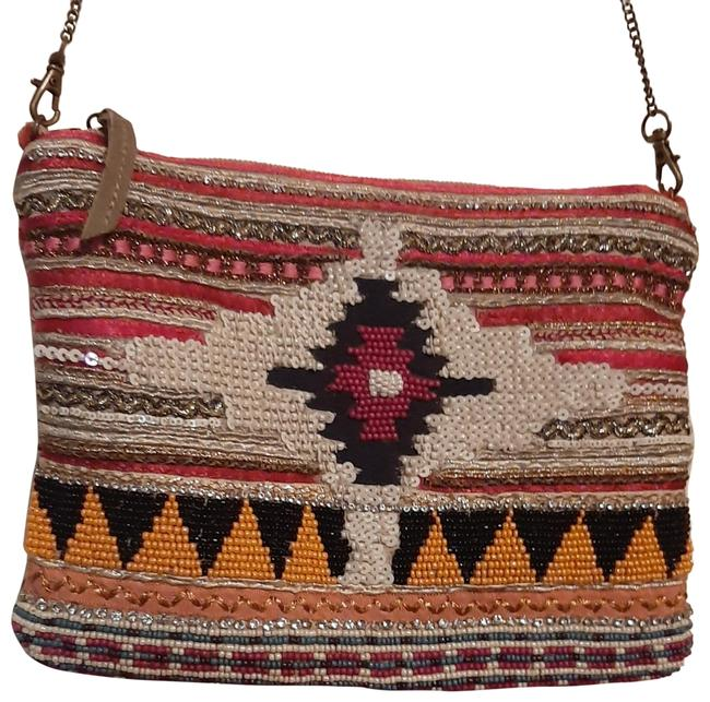 Item - Vintage Tribal Style Pink Multicolored with Choker Blend Cross Body Bag