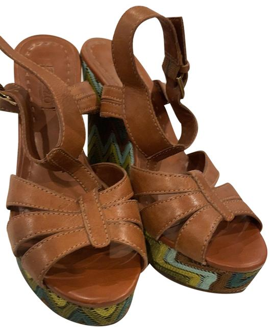 Item - Brown Leather Wedge Heels By Sandals Size US 8 Regular (M, B)