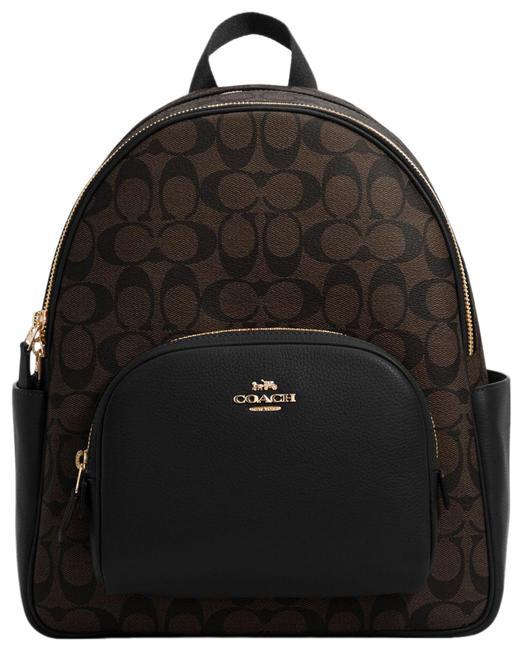 Item - 5671 Court In Signature Brown Black Canvas Backpack