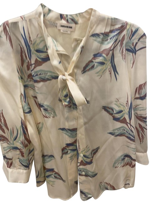 Item - Cream/Blue/Pink/Sage Silky Floral Blouse Size 2 (XS)