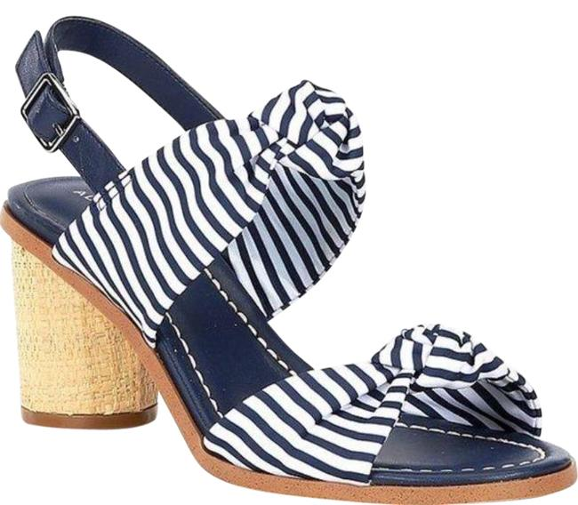 Item - Navy and White Haonny Knotted Nautical Stripe Band Sandals Size US 7 Regular (M, B)