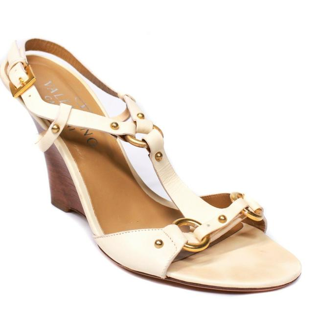 Item - Off-white / Ivory Strappy Wooden Wedge Heels White Leather Gold Stud - Sandals Size EU 37 (Approx. US 7) Regular (M, B)