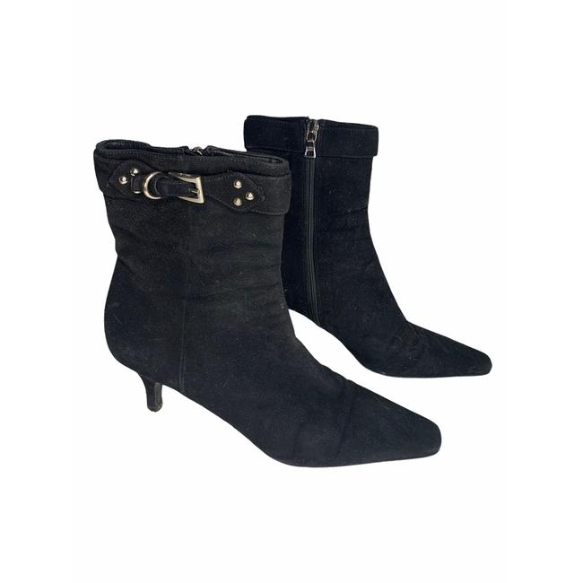 Item - Black Suade Kitten Heel Pointed Ankle Boots/Booties Size EU 37.5 (Approx. US 7.5) Regular (M, B)