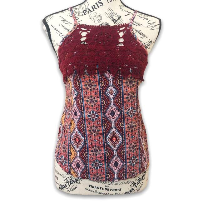 Item - Red XS Rust Patterned Lace Detail - Tank Top/Cami Size 2 (XS)