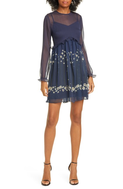 Item - Dark Blue Zemi Floral Long Sleeve Mini Short Casual Dress Size 6 (S)