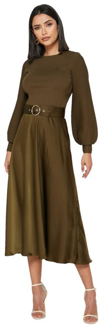 Item - Khaki Gwenii Belted Long Sleeve Midi Mid-length Work/Office Dress Size 6 (S)