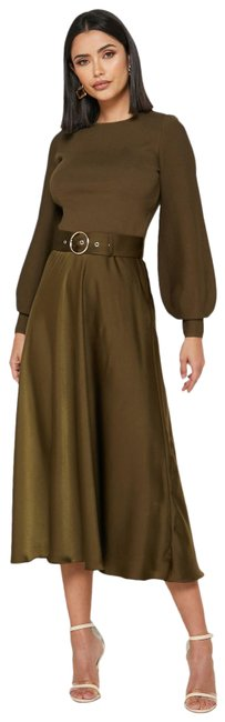 Item - Khaki Gwenii Belted Long Sleeve Midi Mid-length Work/Office Dress Size 8 (M)