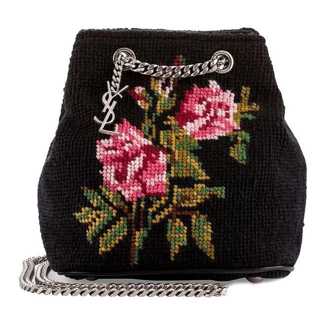 Item - Bucket Emma Baby Rose Needlepoint Black Woven Shoulder Bag