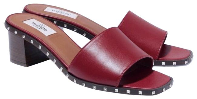Item - Maroon Soul Rockstud Leather Block Heel Sandal Mules/Slides Size EU 39 (Approx. US 9) Regular (M, B)