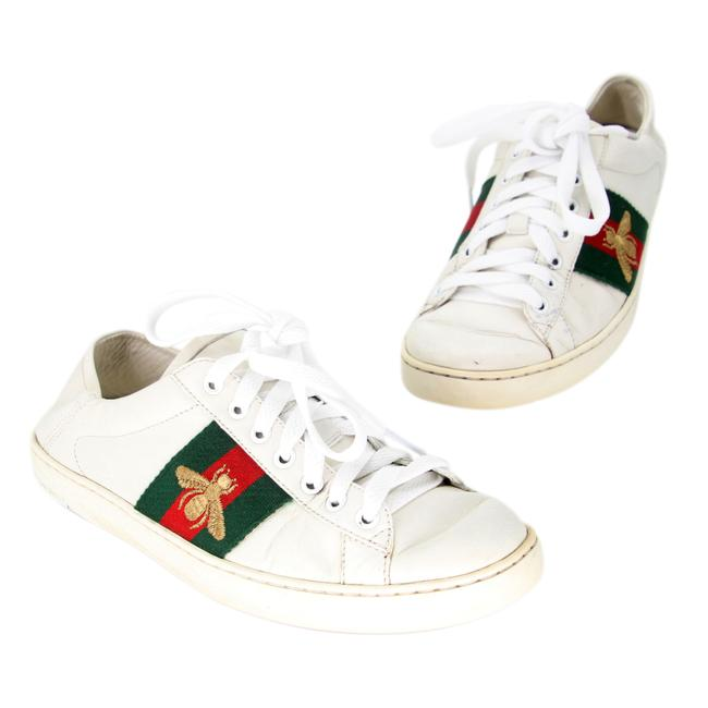 Item - White Ace Bee Embroidered Low-top Calfskin Leather Sneakers Size US 5 Regular (M, B)