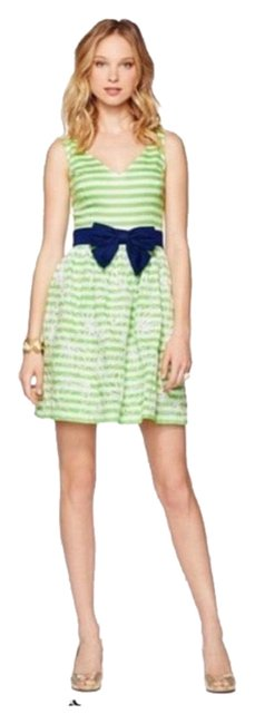 Item - Green and White Summer Mid-length Short Casual Dress Size 8 (M)