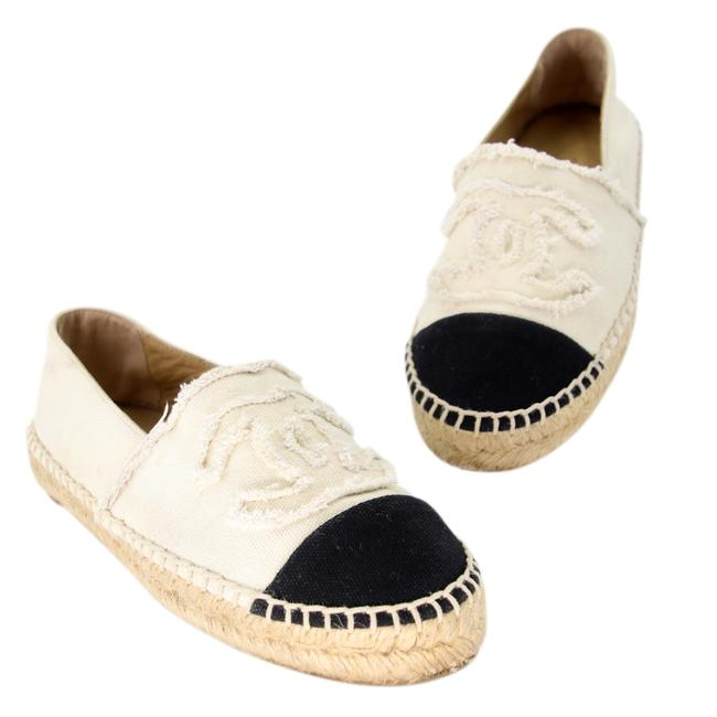 Item - White Cc Raw Canvas Woven Espadrille Flats Size US 5 Regular (M, B)