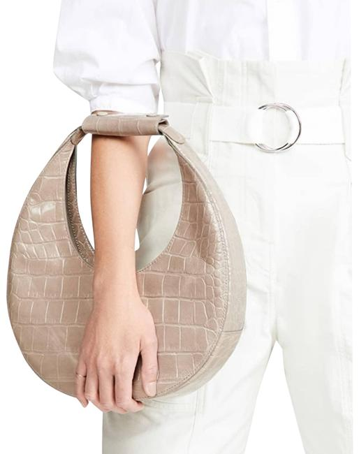 Item - Moon Croc-embossed French Gray Cowhide Leather Shoulder Bag
