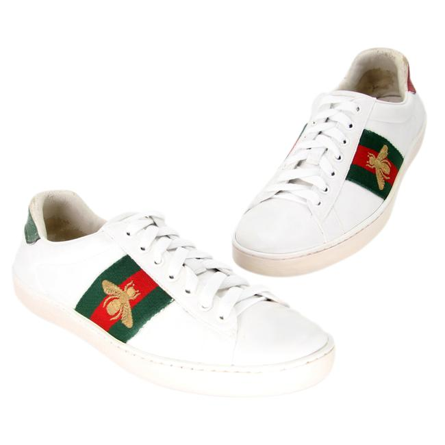 Item - White Ace Bee Embroidered Low-top Calfskin Leather Sneakers Size US 6.5 Regular (M, B)