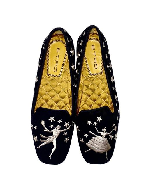 Item - Black Suede Dreaming and Dancing Stars Loafers Flats Size US 6 Regular (M, B)