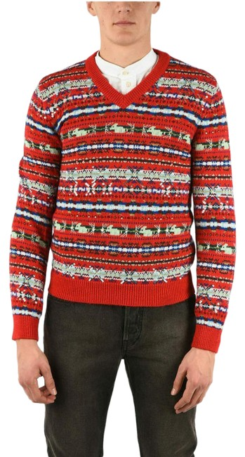 Item - Runway Fair Isle Embroidered Red Sweater