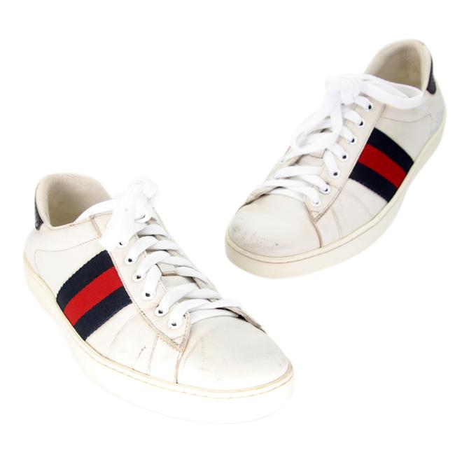 Item - White Ace Embroidered Low-top Calfskin Leather Sneakers Size US 7.5 Wide (C, D)