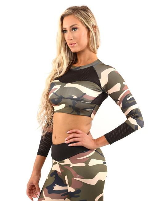 Item - Brown/Green Virginia Camouflage Sports - Brown/Green Activewear Top Size 6 (S)