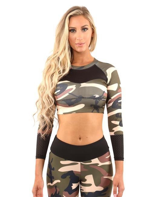 Item - Brown/Green Virginia Camouflage Sports - Brown/Green Activewear Top Size 16 (XL, Plus 0x)