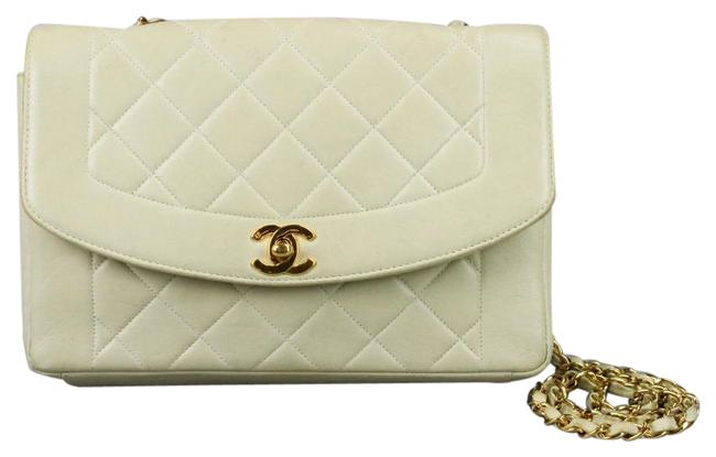 Item - Classic Flap Diana Vintage Quilted Cream Lambskin Leather Shoulder Bag