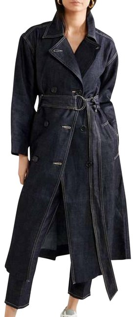 Item - Blue  Navy Denim Double Breasted Belted Coat Size 8 (M)