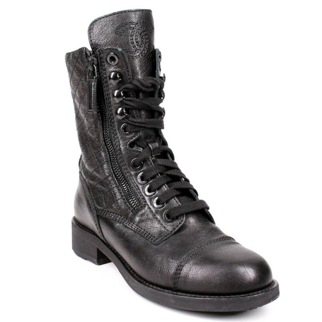 Item - Black Quilted Cc Combat Leather Ankle Zip Lace 5 Boots/Booties Size EU 35.5 (Approx. US 5.5) Regular (M, B)