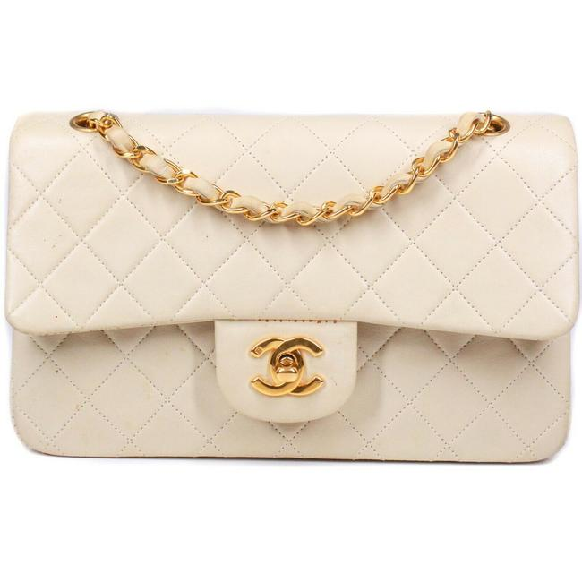 Item - Classic Shoulder Bag Double Flap Small Cc Chain Quilted Off-white / Cream - Gold Lambskin Leather Satchel