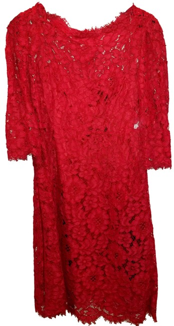 Item - Red Cordonetto Lace Sheath Mid-length Cocktail Dress Size 6 (S)
