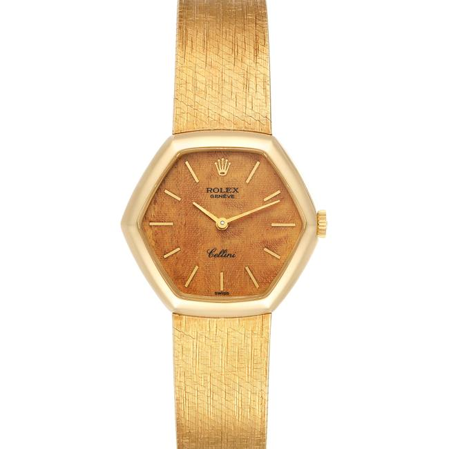 Item - Wood Cellini 18k Yellow Gold Wooden Dial Vintage Cocktail Ladies Watch