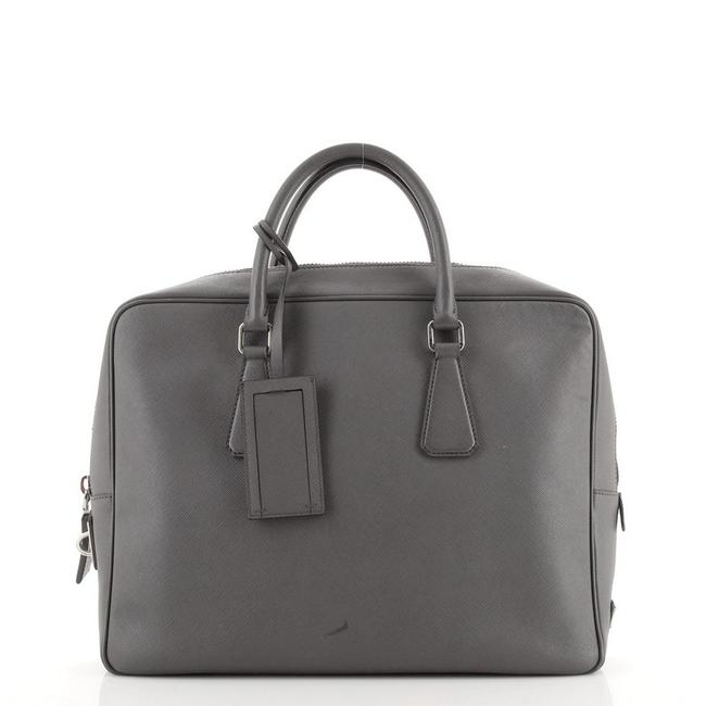Item - Zip Around Briefcase Saffiano Large Gray Leather Tote
