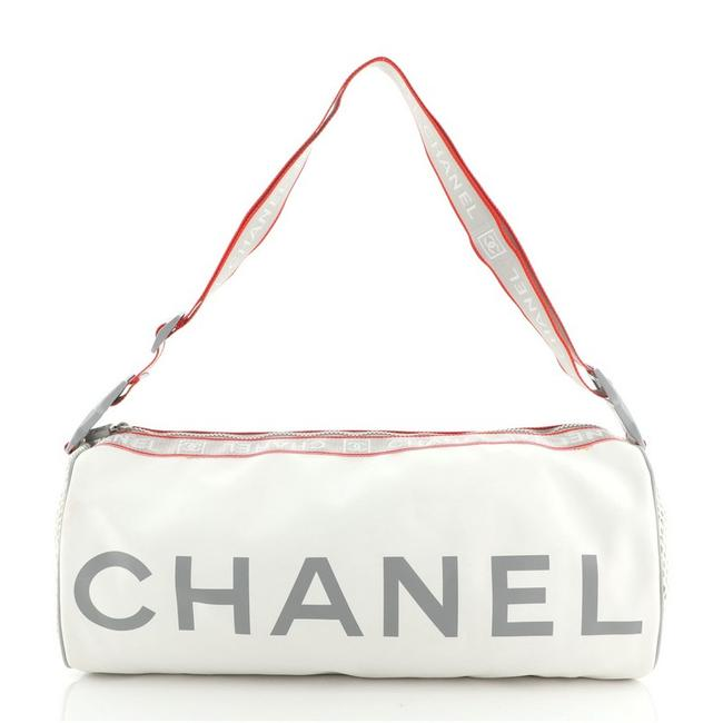 Item - Duffle Sport Line Printed Rubberized Large White Leather Cross Body Bag