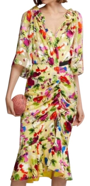 Item - Multi Floral Olivia Midi Mid-length Night Out Dress Size 8 (M)