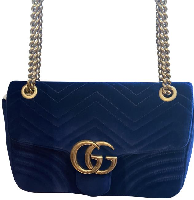 Item - Marmont Royal Blue Gg Velvet Shoulder Bag