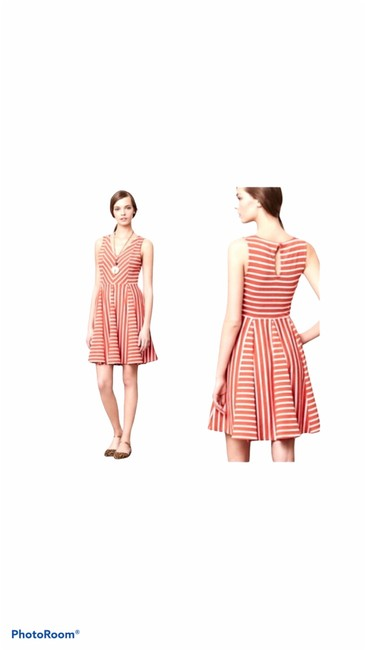 Item - Orange and White Sleeveless Striped Fit Flare Mid-length Work/Office Dress Size 6 (S)