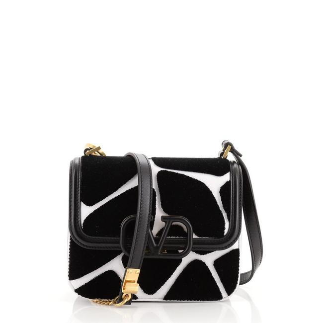 Item - Vsling Printed with Small Black Print White Textile Leather Shoulder Bag