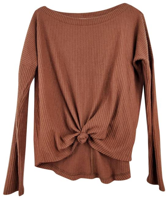 Item - Seriously Soft Copper Perfect Waffle Tee Knit Front Tie Blouse Size 4 (S)