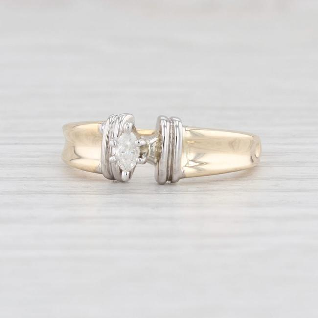 Item - Yellow and White Gold Diamond 10k Marquise Solitaire Size 5.25 Engagement Ring
