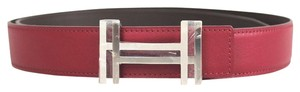 Hermès Raspberry Brown Reversible 32 mm Silver H AU Carre Metal Buckle Belt Kit