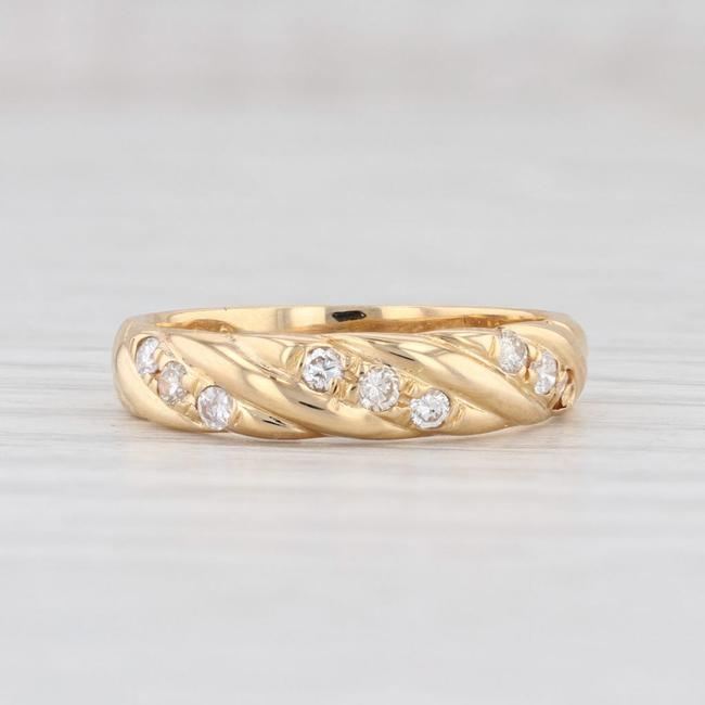 Item - Yellow Gold 0.14ctw Diamond 18k Size Stackable Ring Women's Wedding Band