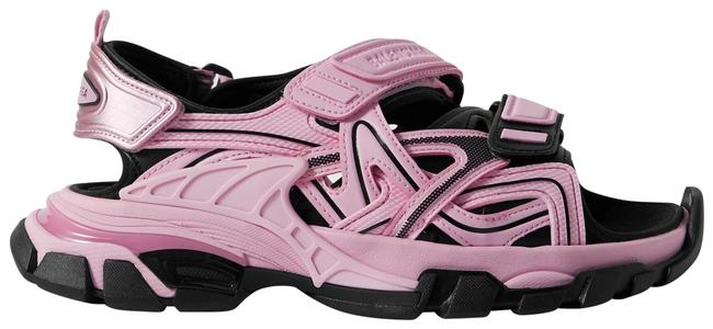 Balenciaga Pink Track Logo-detailed Leather and Rubber Sandals Size EU 37 (Approx. US 7) Regular (M, B) Balenciaga Pink Track Logo-detailed Leather and Rubber Sandals Size EU 37 (Approx. US 7) Regular (M, B) Image 1
