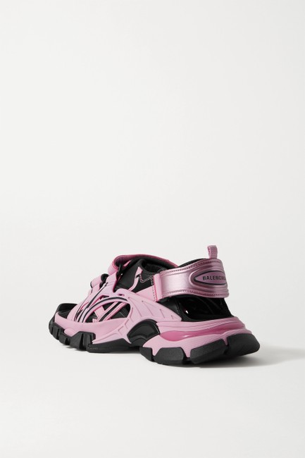 Balenciaga Pink Track Logo-detailed Leather and Rubber Sandals Size EU 37 (Approx. US 7) Regular (M, B) Balenciaga Pink Track Logo-detailed Leather and Rubber Sandals Size EU 37 (Approx. US 7) Regular (M, B) Image 2