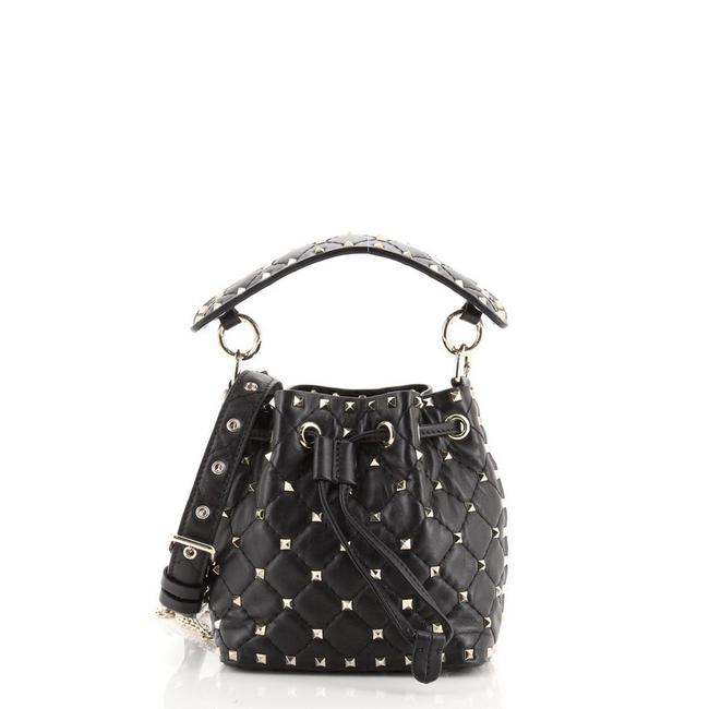 Item - Bucket Bag Rockstud Spike Quilted Small Black Leather Satchel