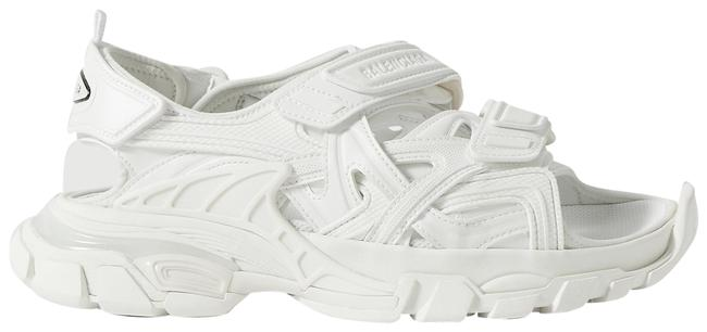 Item - White Track Logo-detailed Leather and Rubber Sandals Size EU 38 (Approx. US 8) Regular (M, B)