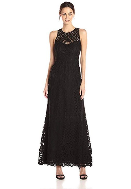 Item - Black Lace Gown with Illusion Neckline Long Formal Dress Size 6 (S)