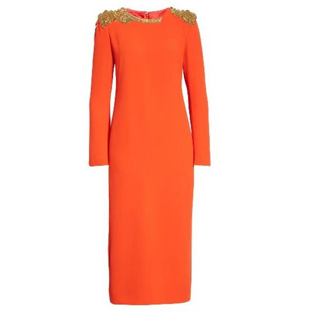 Item - Red Daia Embroidered Long Sleeve Mid-length Cocktail Dress Size 12 (L)