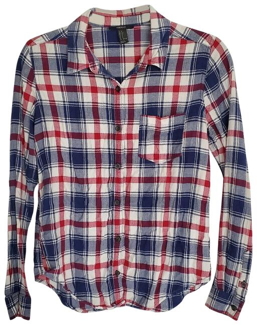 Item - Blue Flannel Collared Button-down Top Size 6 (S)