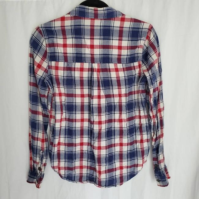 Forever 21 Blue Flannel Collared Button-down Top Size 6 (S) Forever 21 Blue Flannel Collared Button-down Top Size 6 (S) Image 3